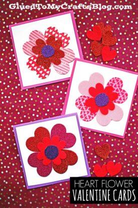 Valentine Heart Flower Cards - Kid Craft