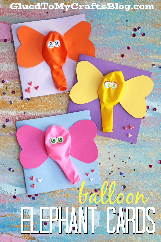 Balloon Elephant Card Kid Craft Glued To My Crafts