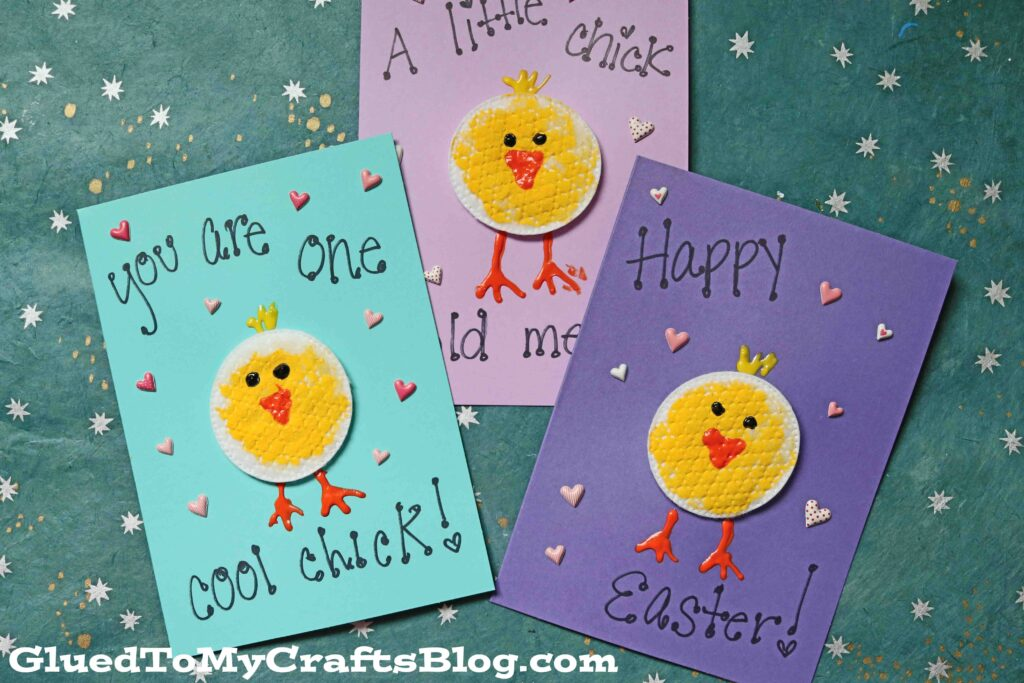 Cotton Pad Easter Chick Cards - Kid Craft Idea