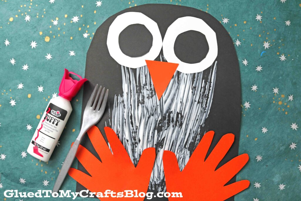 Paper and Fork Painted Penguin - Kid Craft Idea For Winter