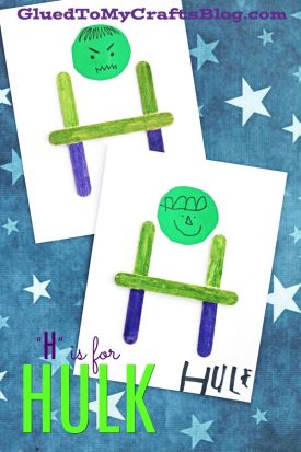 "Popsicle Stick ""H"" is for Hulk Kid Craft Idea"