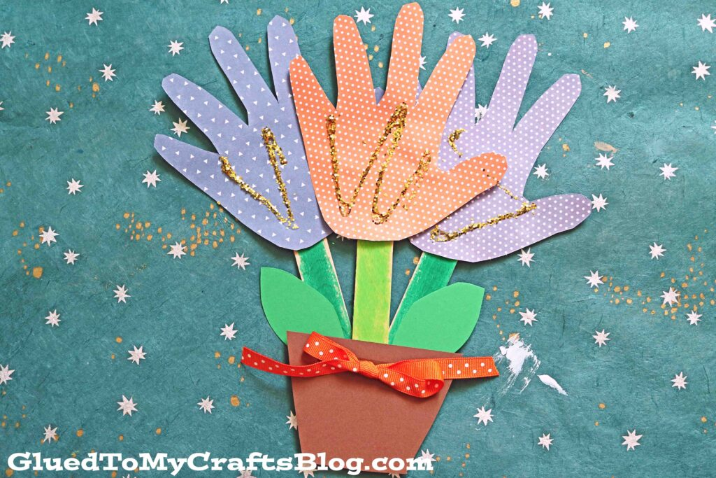 Paper Handprint Flower Bouquet - Kid Craft For Spring