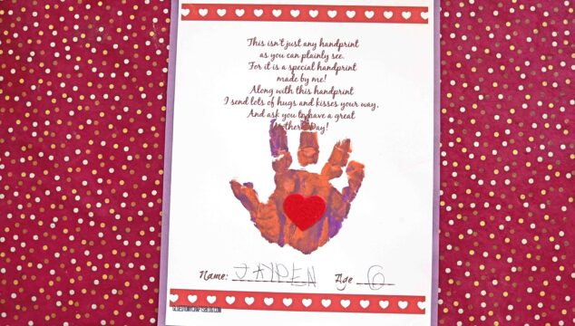 Handprint Mother's Day Poem Keepsake Craft For Kids