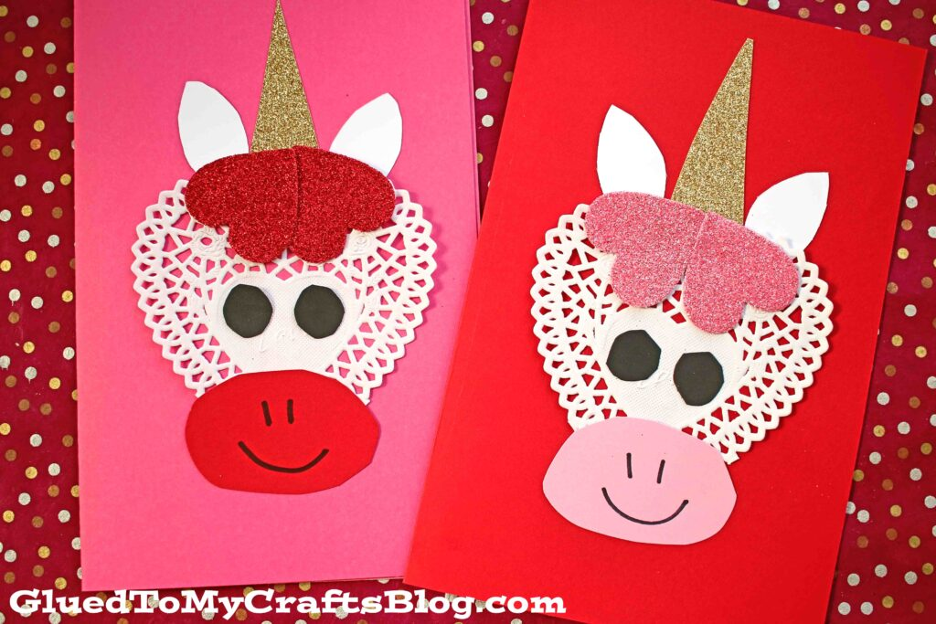 Paper Heart Doily Unicorn Cards For Valentine's Day