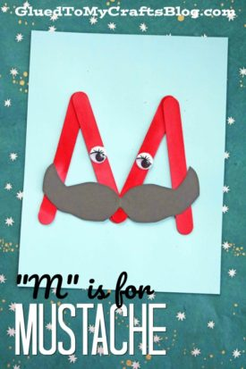 """M"" is for Mustache - Popsicle Stick Kid Craft Idea"