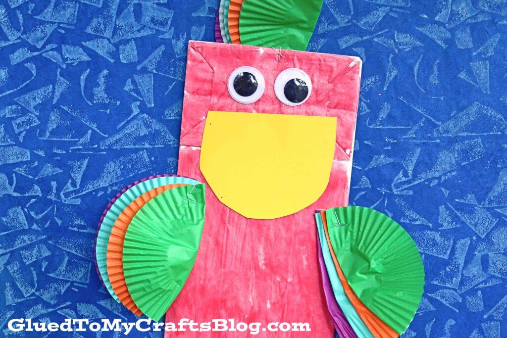 Paper Bag Cupcake Liner Parrot Puppet - Kid Craft