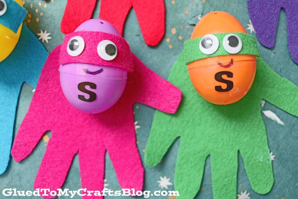 Upcycled Plastic Egg Superhero Puppets - Easter Kid Craft