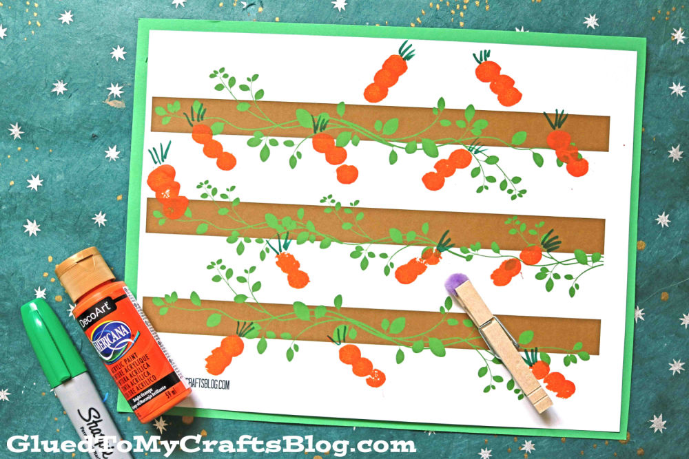 Pom Pom Painted Carrot Patch - Easter Craft Idea For Kids