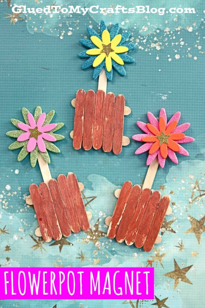 Popsicle Stick Flower Pot Magnets - Kid Craft Idea For Spring