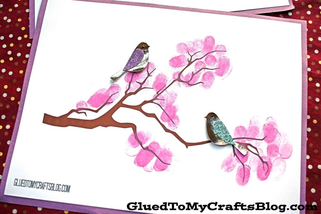 Thumbprint Cherry Blossom Tree Branch - Free Printable
