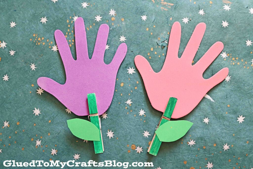 Clothespin Handprint Flowers - Kid Craft