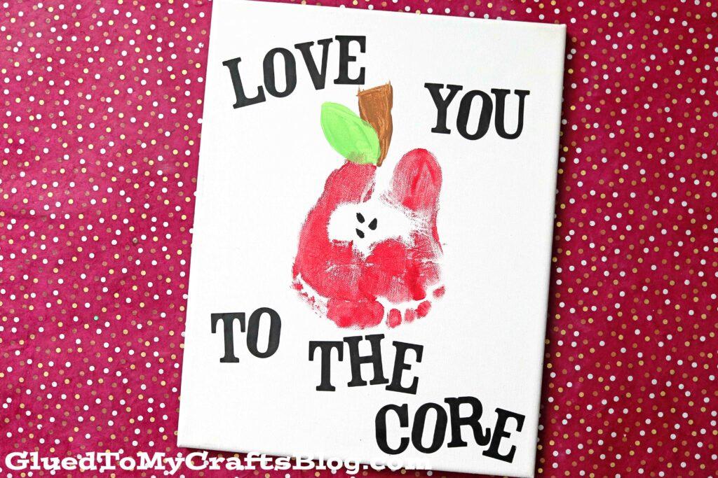 Love You To The Core - Footprint Apple Keepsake Idea