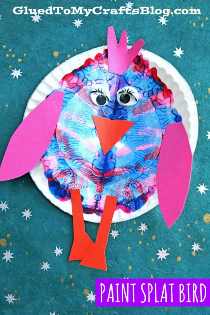 Paper Plate & Paint Splat Bird - Spring Kid Craft Idea