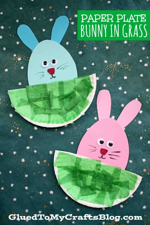Paper Plate Easter Bunny Hiding In The Grass Craft