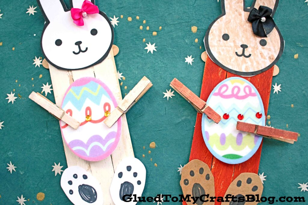 Popsicle Stick Easter Bunny Puppet - Kid Craft