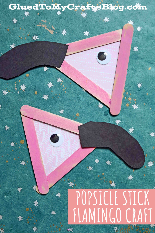 Flamingo Head Kid Craft Idea Made From Popsicle Sticks