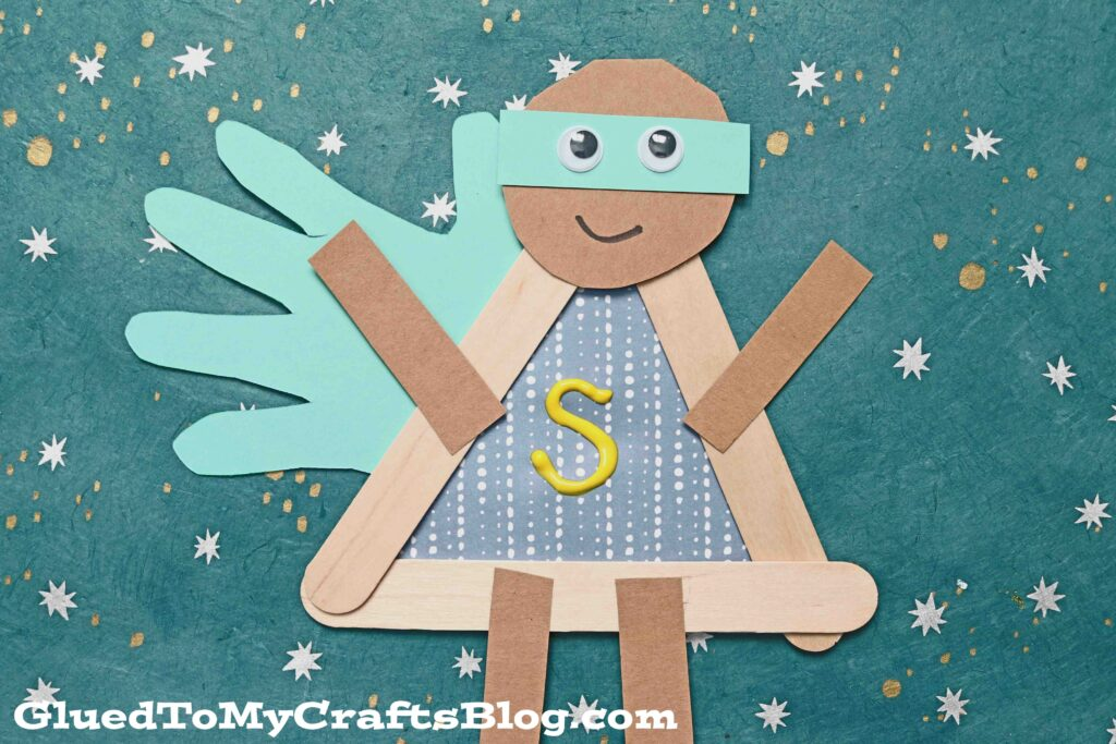 Popsicle Stick Superhero w/Handprint Cape - Kid Craft