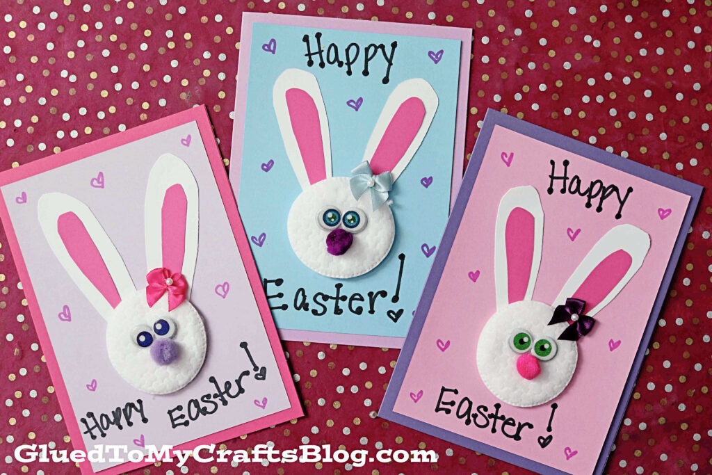Cotton Pad Bunny Cards - Easter Kid Craft
