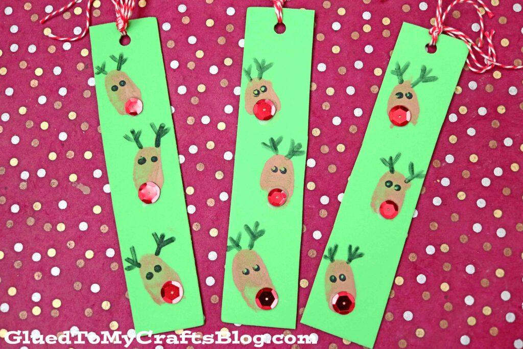 Craft Foam Thumbprint Reindeer Bookmarks