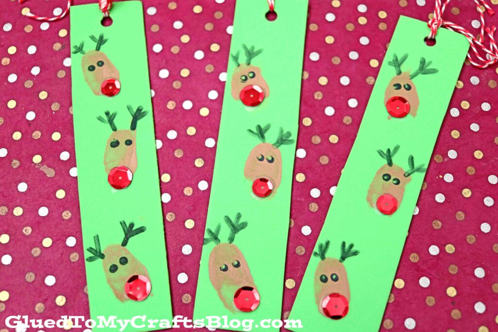 Craft Foam Thumbprint Reindeer Bookmarks