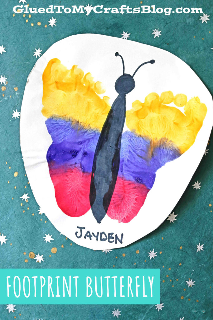 Tri-Colored Footprint Butterfly Keepsake - Kid Craft