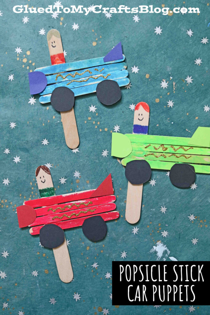 Popsicle Stick Car Puppets - Kid Craft