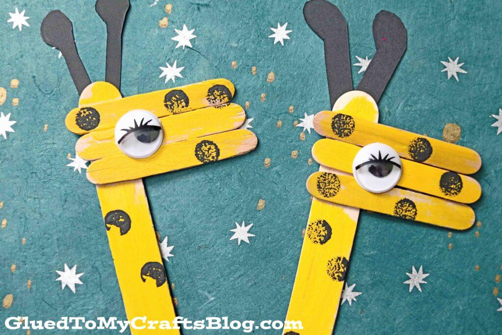 Popsicle Stick Giraffe - Kid Craft Puppet