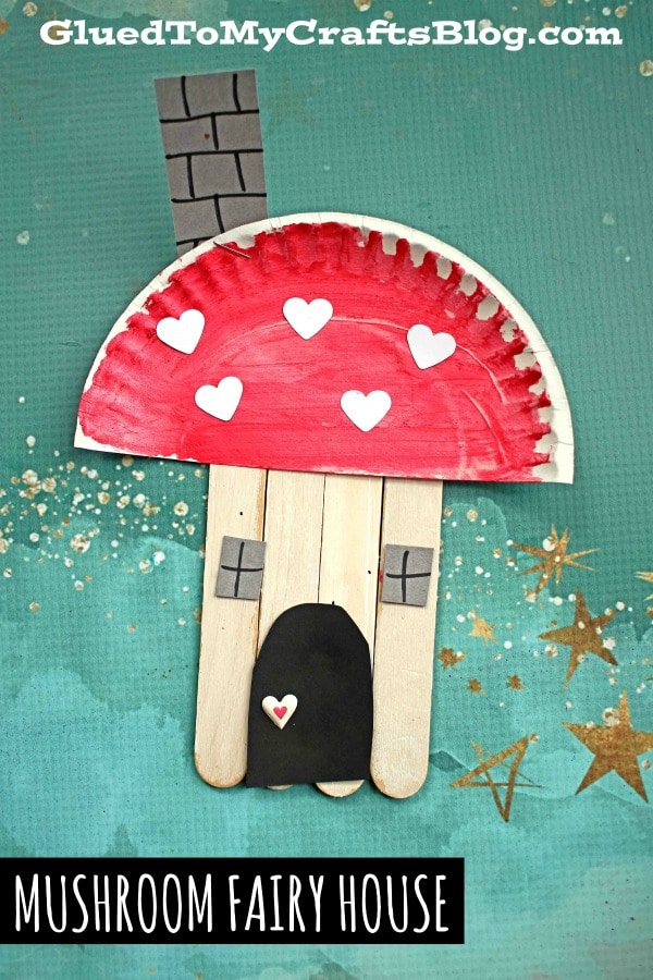 Paper Plate & Popsicle Stick Mushroom Fairy House - Kid Craft