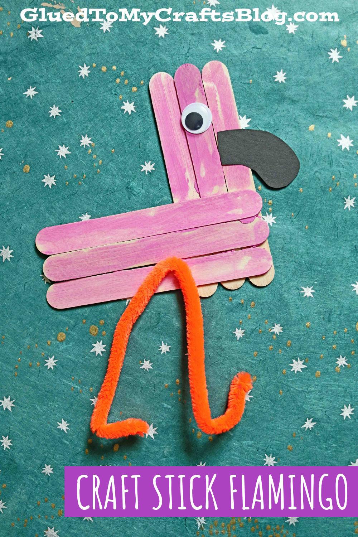Craft Stick Flamingo - Kid Craft Idea For Summer