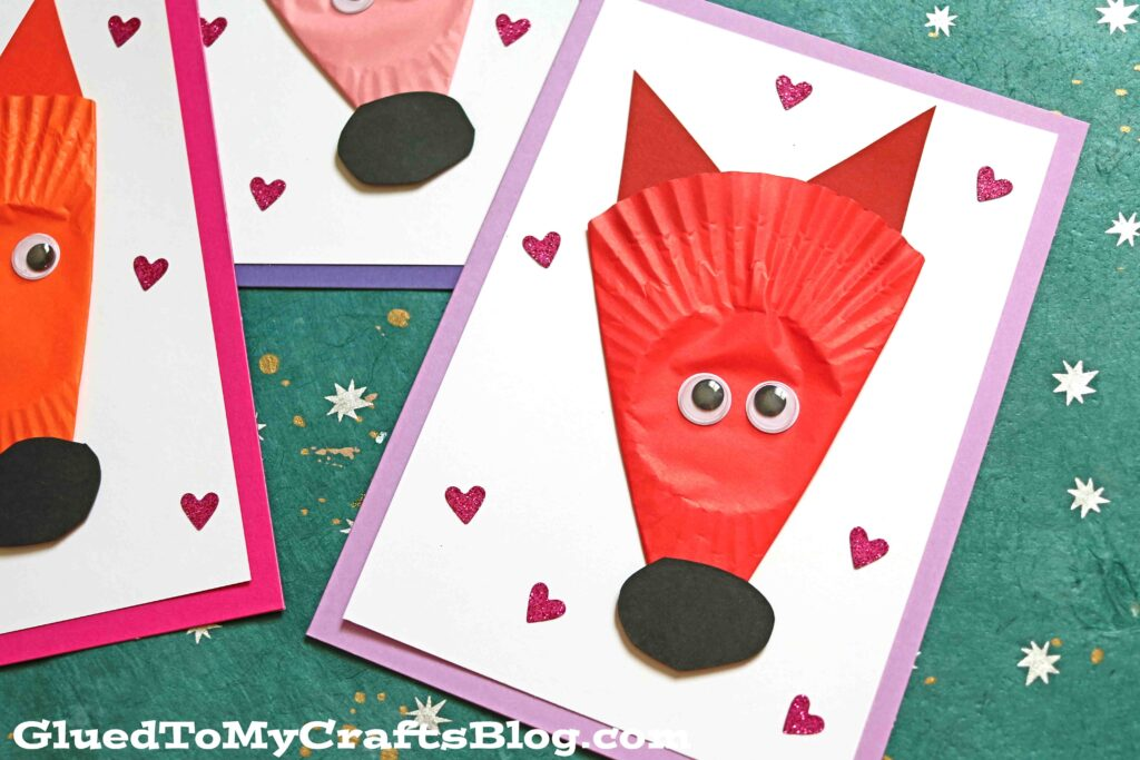 Cupcake Liner Fox Cards - Handmade Kid Craft Idea