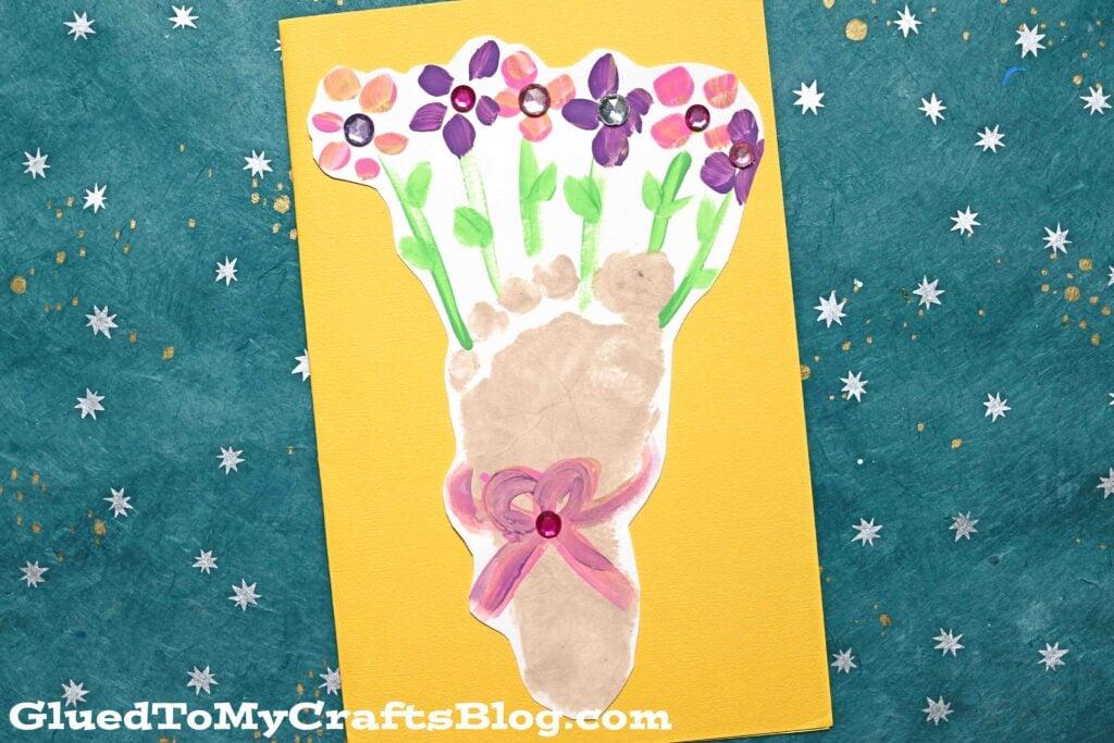 Footprint Flower Bouquet Card - Kid Craft