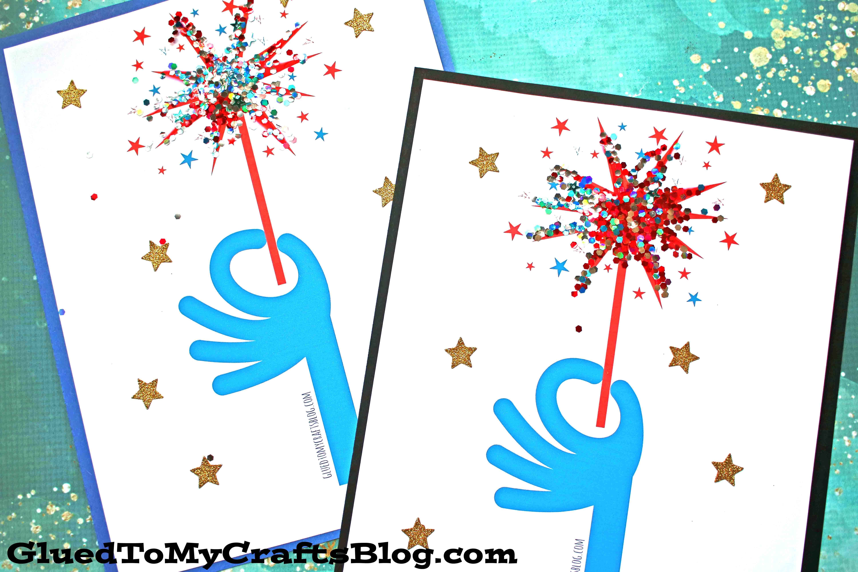 Simple Glitter Fireworks - Kid Craft Idea w/Free Printable