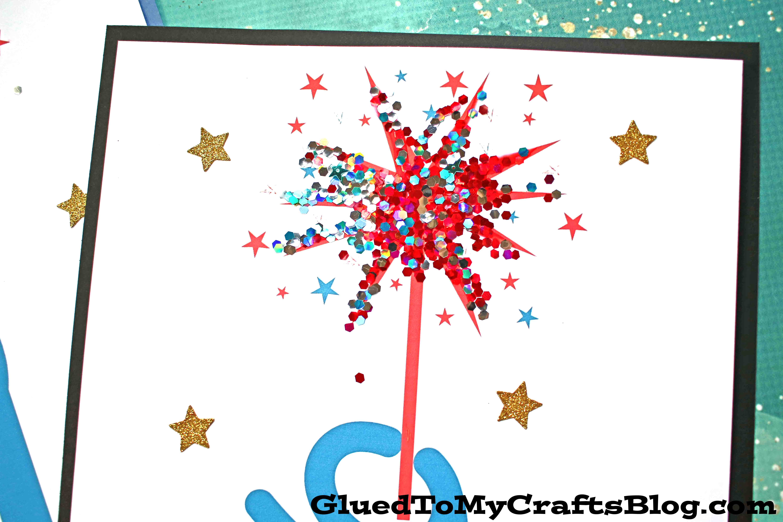 Simple Patriotic Firework Sparkler - Kid Craft Idea w/Free Printable