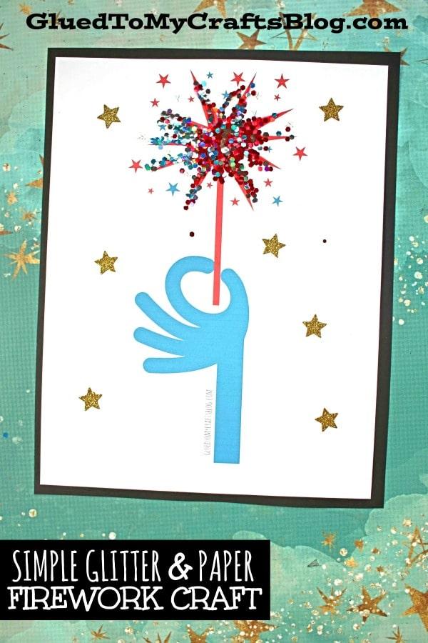 Simple Glitter & Paper Patriotic Firework Sparkler Craft