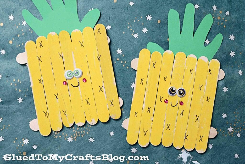 Craft Stick Pineapple Friends - Kid Craft Idea For Summer