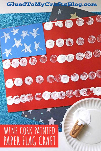 Wine Cork Painted Flag On Paper - Kid Craft