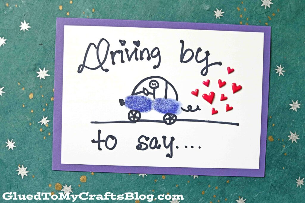 Thumbprint Car Cards For Kids To Recreate For Friends