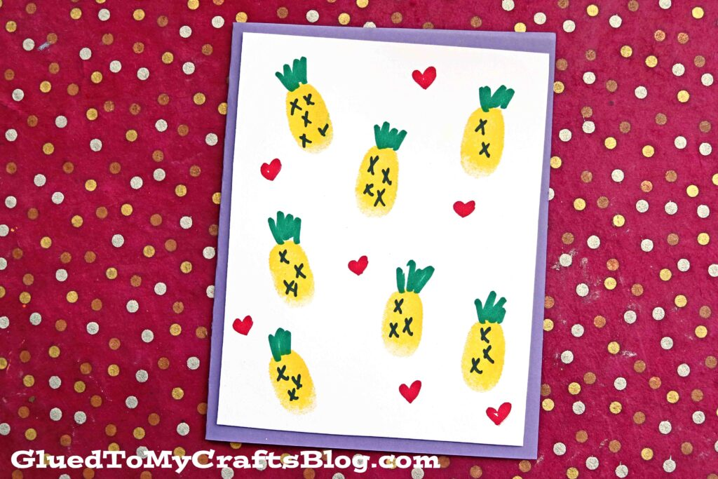 Yellow Thumbprint Pineapple Cards - Kid Craft Idea