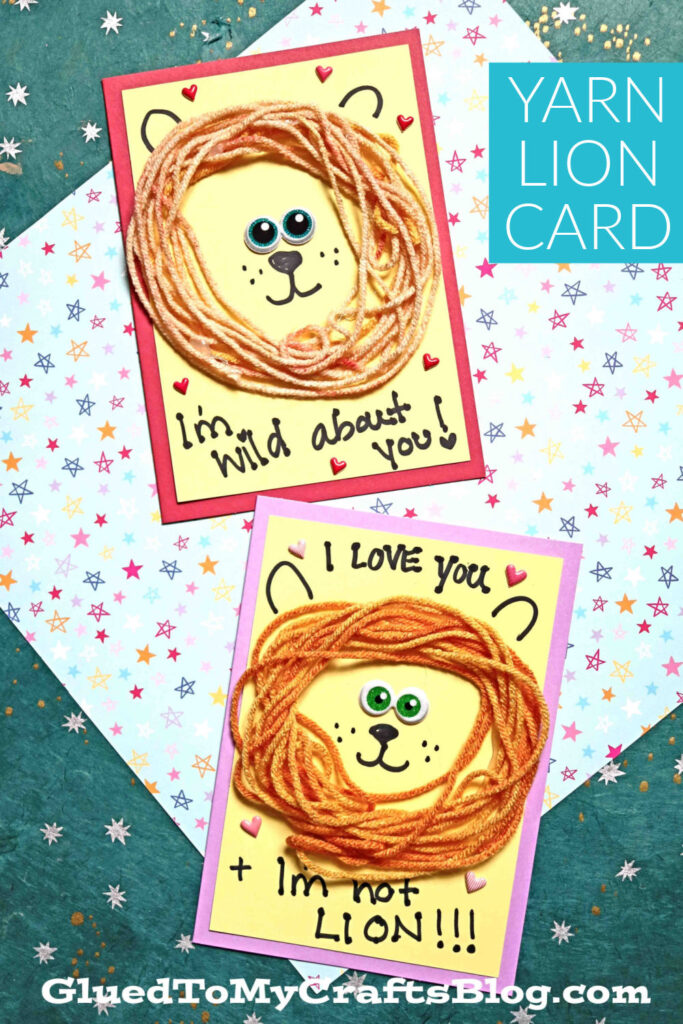 Craft Yarn Lion Mane Card - Handmade Kid Craft Idea