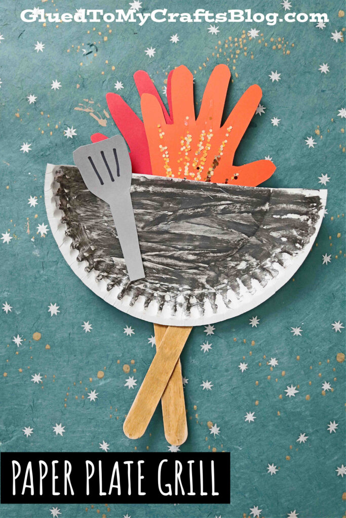 Paper Plate Grill w/Handprint Flame - Kid Craft Idea For Summer