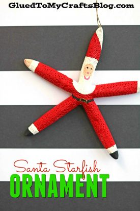 Santa Themed Starfish Ornament