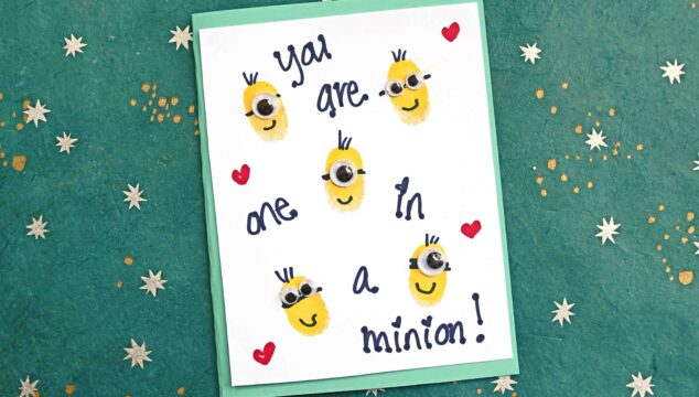 Thumbprint Minions Cards - Kid Craft Idea For Despicable Me 3