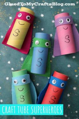 Cardboard Craft Tube Superheroes - Kid Craft Tutorial