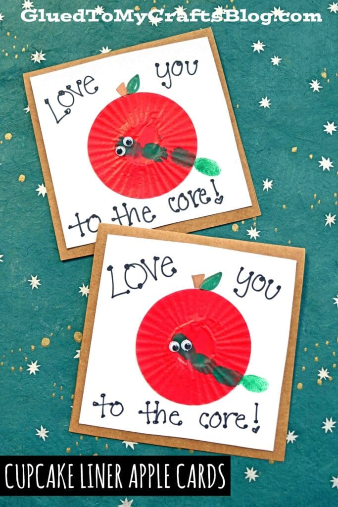 Cupcake Liner Apple Cards w/Thumbprint Worms