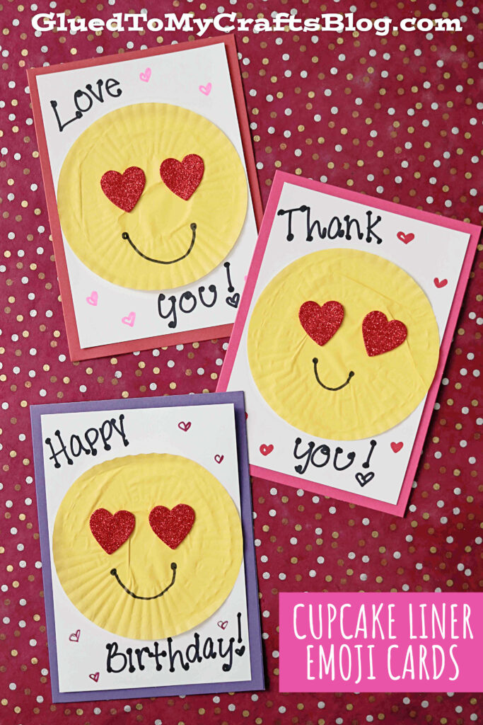 DIY Cupcake Liner Emoji Cards For Valentine's Day