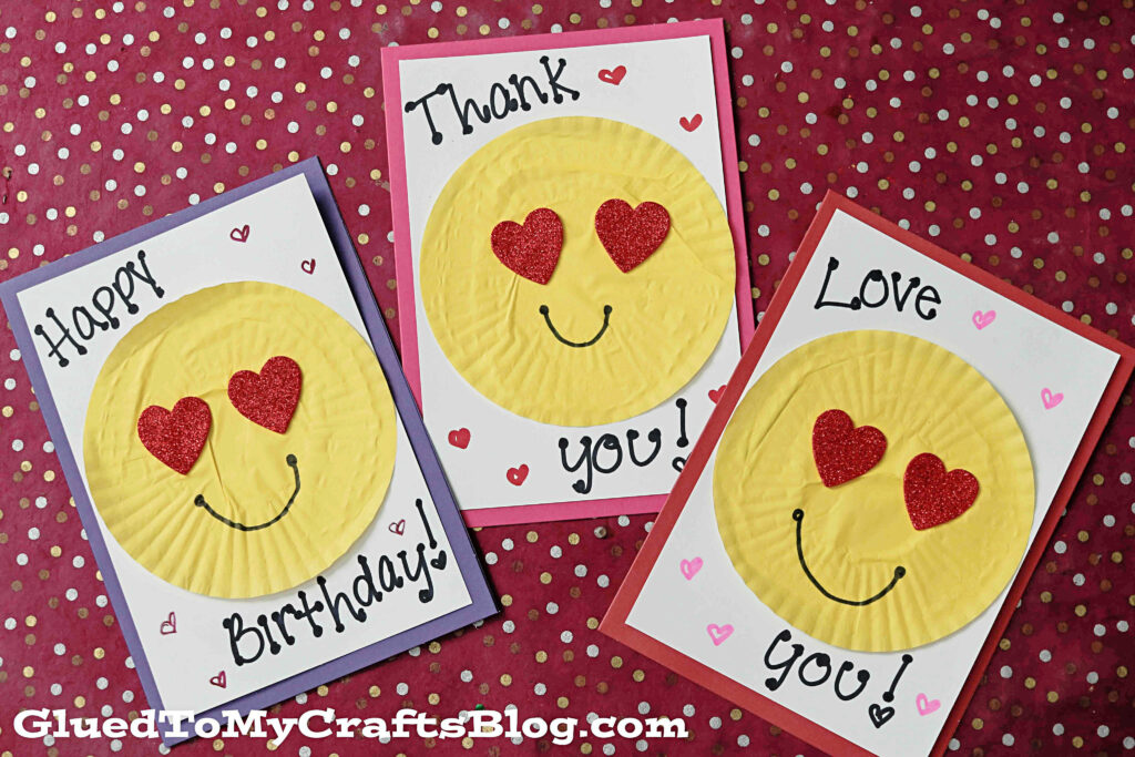 handmade cupcake liner emoji cards for valentine's day