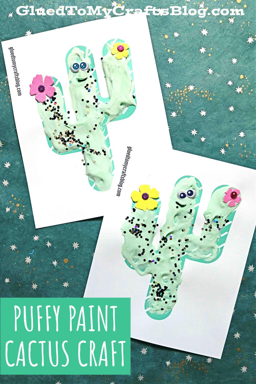 Paper & Puffy Paint Cactus Friends - Kid Craft Idea