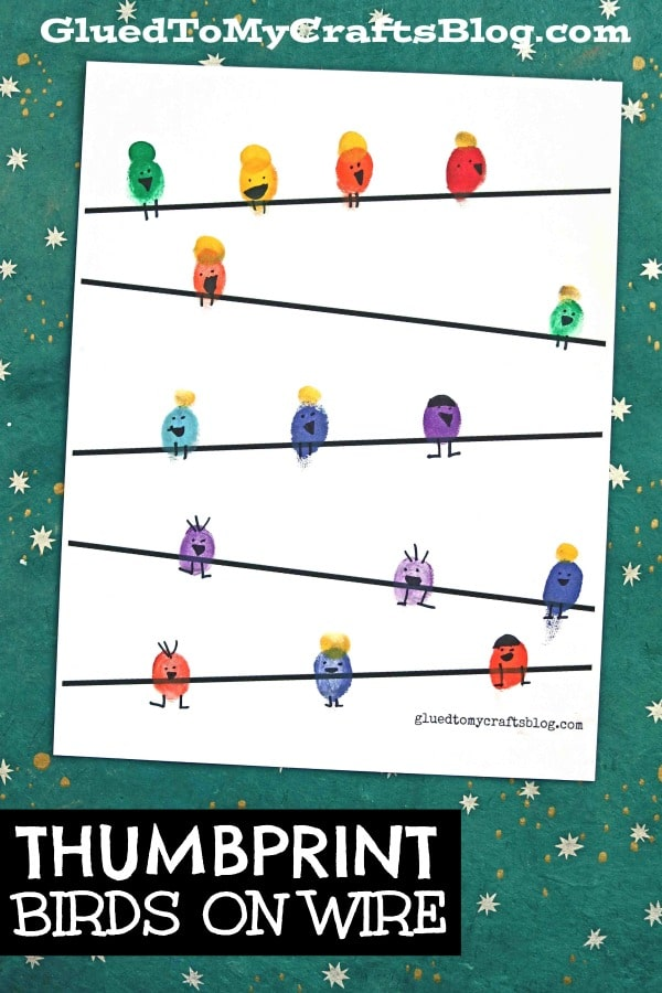 Thumbprint Birds on a Wire - Kid Craft w/free printable