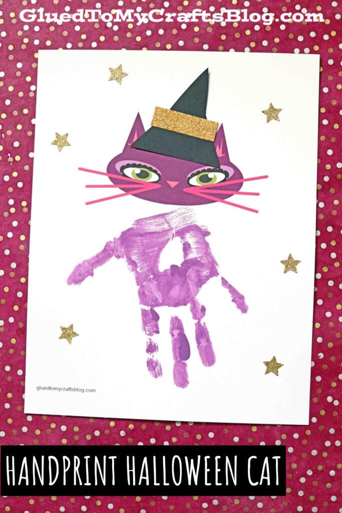 Handprint Halloween Purple Cat Keepsake - Free Printable
