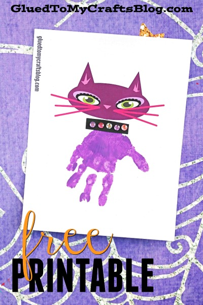 Handprint Halloween Purple Cat Keepsake - Free Printable